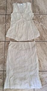Top Eyelet Matching S crema Set Cute maniche e Skirt Motherhood Maternity senza tqBYKxaEEw