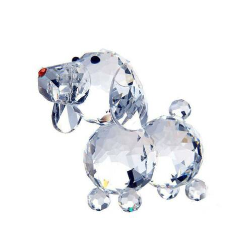 Crystal Glass Cute Dog Figurines Crafts Table Ornament Home Decor Wedding Gift
