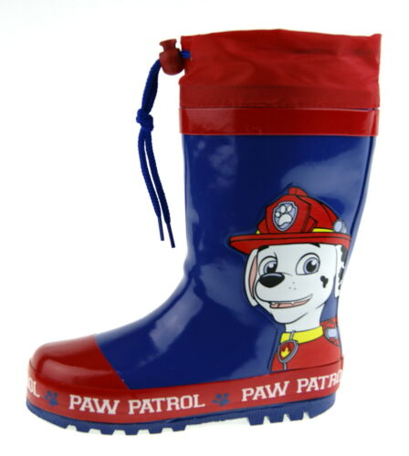 Paw Patrol Tie Top Wellies Boys Chase Wellington Snow Rain Boots Fleece Lined