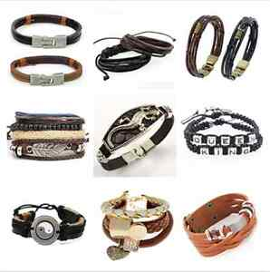 Fashion-Unisex-Women-Men-Braided-Leather-Steel-Magnetic-Clasp-Bracelet-Gift