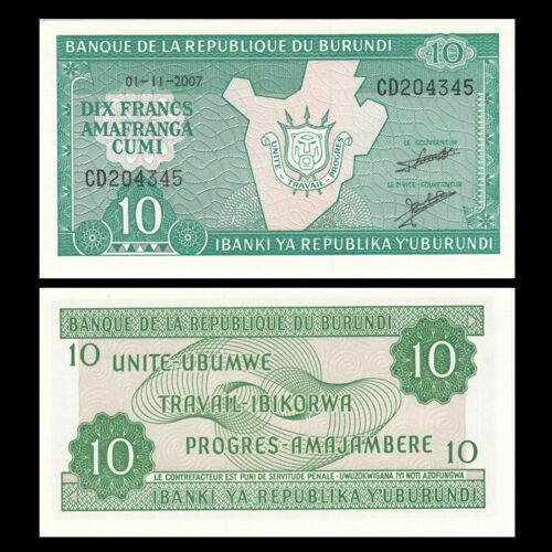 UNC Burundi 10 Francs P-33 Lot 5 PCS 2007