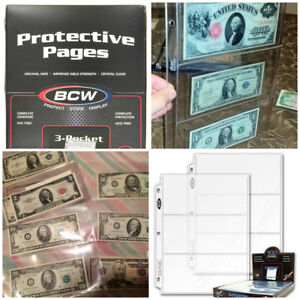 3 Pockets Currency Banknotes 100 Album Pages Clear BCW PVC FREE 3 Rings Binders