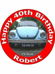 VW Beetle Car 7 Inch Edible Image Cake Cupcake Toppers 1
