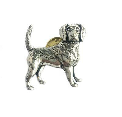 Beagle Dog Pin Badge Brooch English Silver Pewter in gift pouch
