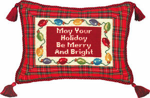PILLOWS-034-MERRY-AND-BRIGHT-034-PILLOW-PETIT-POINT-CHRISTMAS-PILLOW