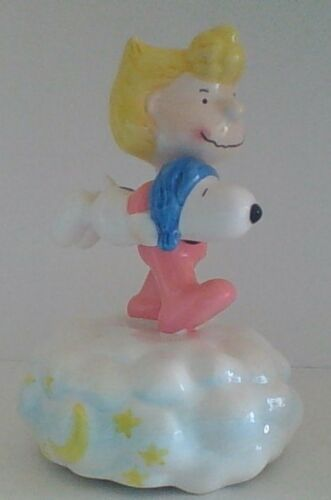 Vintage Peanuts Snoopy & Sally Willitts Ceramic Music box, Mint Condition Rare