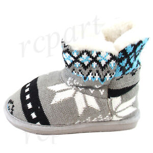 New-girl-039-s-kids-winter-boots-casual-shoes-pull-up-faux-fur-gray-white-black-warm