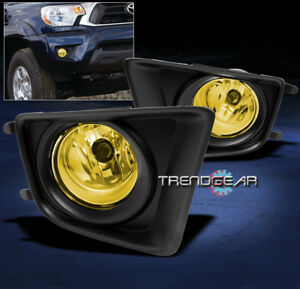 FOR 2012-2015 TOYOTA TACOMA BUMPER YELLOW FOG LIGHTS LAMP W/COVER+HARNESS+SWITCH