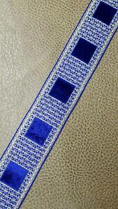 Vintage-Vestment-Galloon-Borde-Oro-Metalico-amp-Azul-Terciopelo-1-6cm-Ancho-9-Yrds