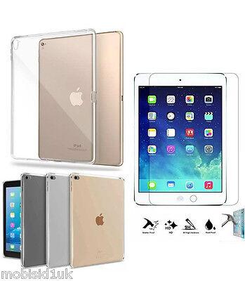 Focoso Ultra Sottile Trasparente Tpu Gel Skin Case Cover + Vetro Temperato Per Apple Ipad Air 2-mostra Il Titolo Originale