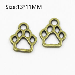 25PCS Tibetan Silver Dog Foot Charms Pendant Necklace Crafts Jewelry 13*11MM