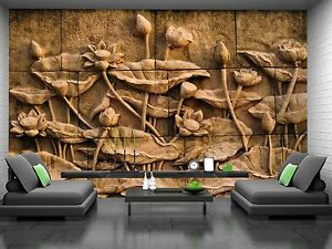 Lotus Flower Stone Carving Wall Mural Photo Wallpaper GIANT DECOR