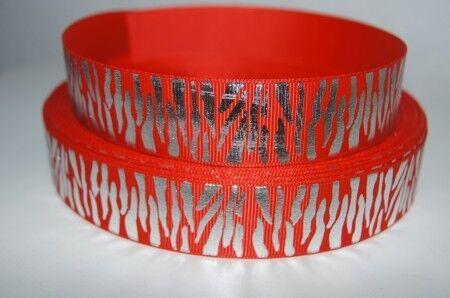 webband cenefa 1521-grosgrain metalizado cebra en rojo 25mm ancho grosgrain