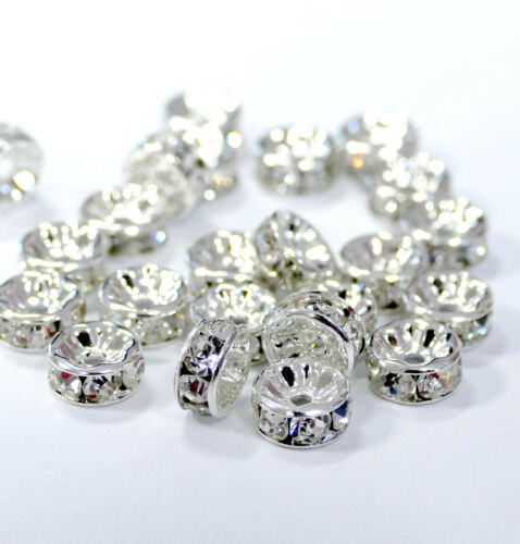 Strassrondelle Metall Silber Strass Kristall funkelnd  4-12 mm 100x #7000