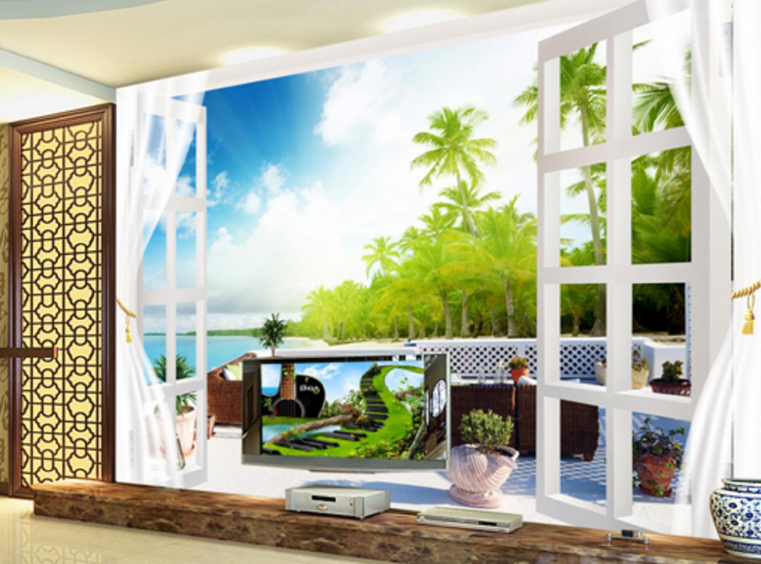 3D Grüner Baum Balkon Ozean 56 Tapeten Mauer Foto Familie Tapete Wandgemälde