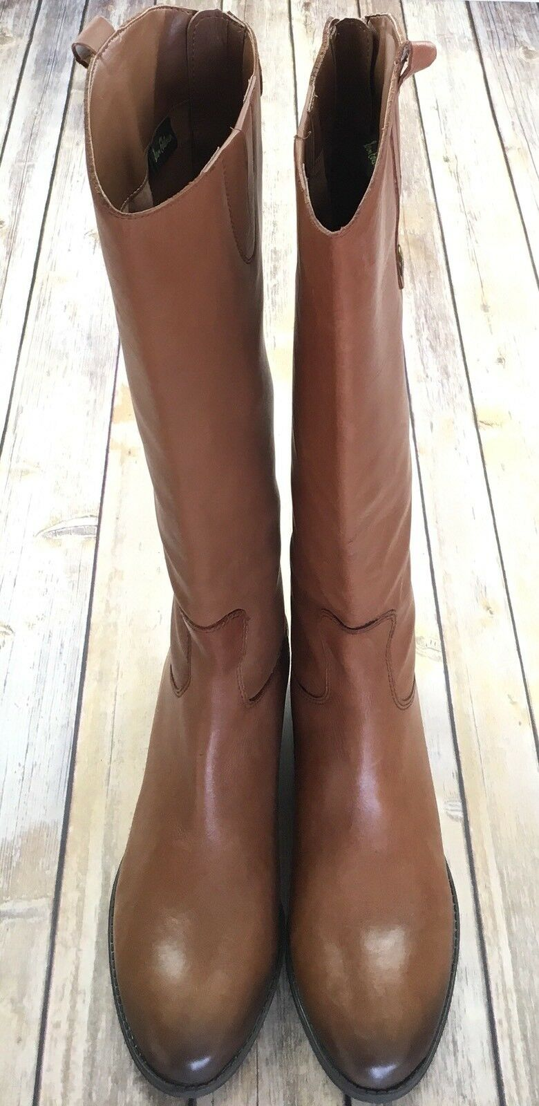 SAM EDELMAN Penny Riding Boots Brown Tall Leather Zip Whiskey Brown Boots 7 7.5 8 8.5 9.5 10 fcfbe7