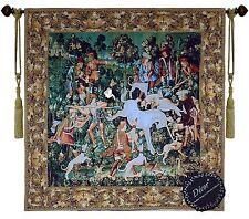 Beautiful Hunt for Unicorn I Fine Tapestry Jacquard Woven Wall Hanging Art Decor