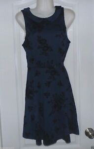 LC-Lauren-Conrad-Floral-Flocked-Fit-amp-Flare-Dress-Blue-Women-039-s-Sz-8-NWT-MSRP-64