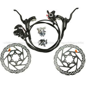 Shimano Black RT56 160mm Rotors /& BR-BL-M395 Hydraulic Brake Set Front and Rear