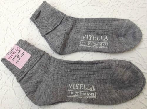 Vintage ankle socks UNUSED childrens school uniform 1960s VIYELLA grey ribbed