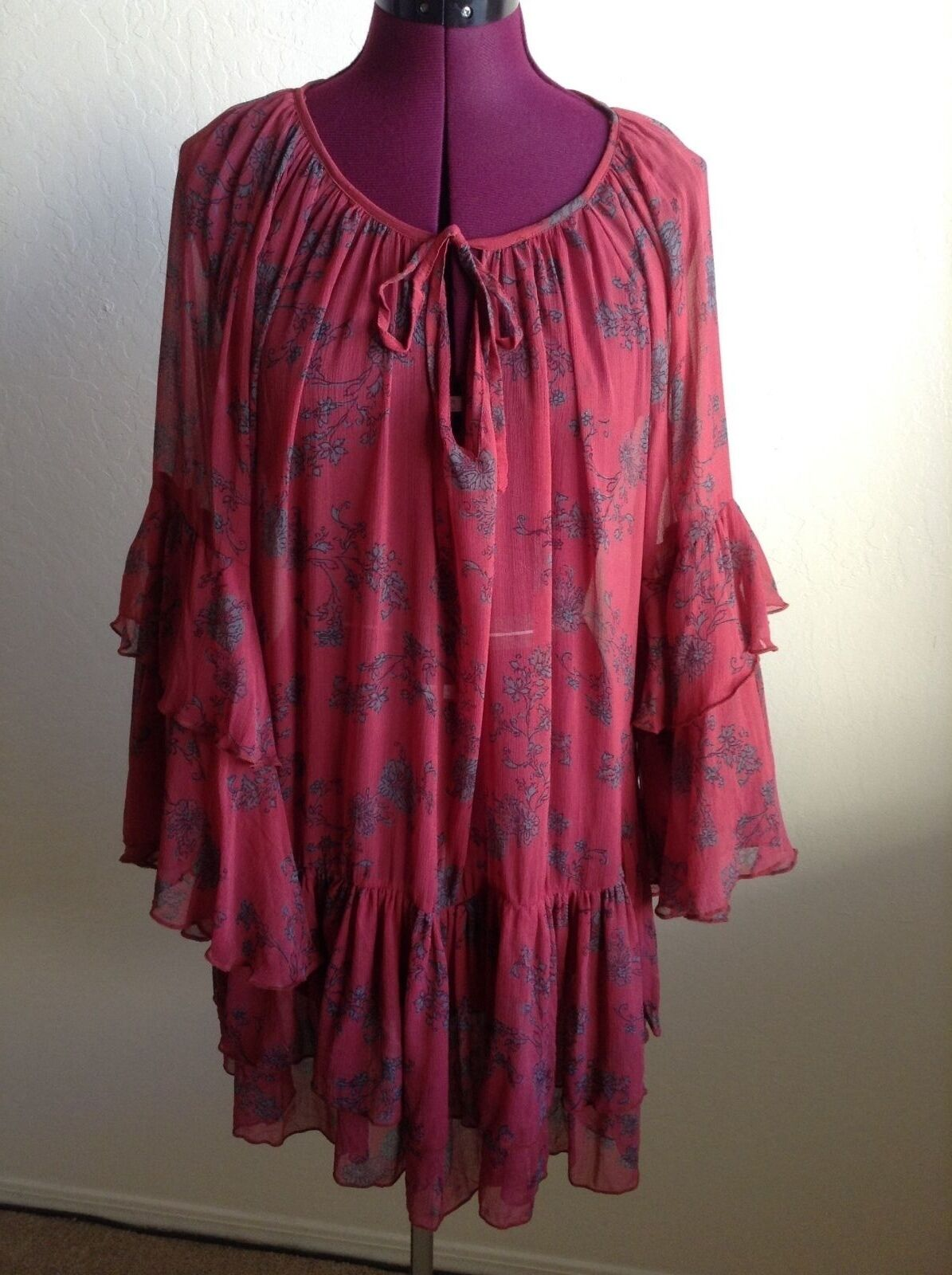 NEW Free Free Free People  128 Sunsetter Floral Print MinidressRed ComboXS 16823e