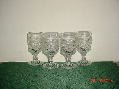 "4-PIECE ANCHOR HOCKING ""WEXFORD"" 5 1/4"" PEDESTAL WINE GOBLETS/VINTAGE/CLEARANCE"