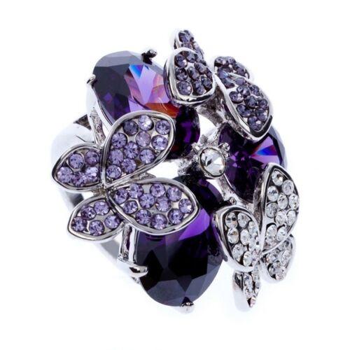 Fashion Femmes Anneau Violet Goutte d/'eau Cubique Zircone papillon Autrichien Cristal