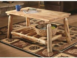 Log Coffee Table Natural Finish Finished Top Rustic Wood Furniture