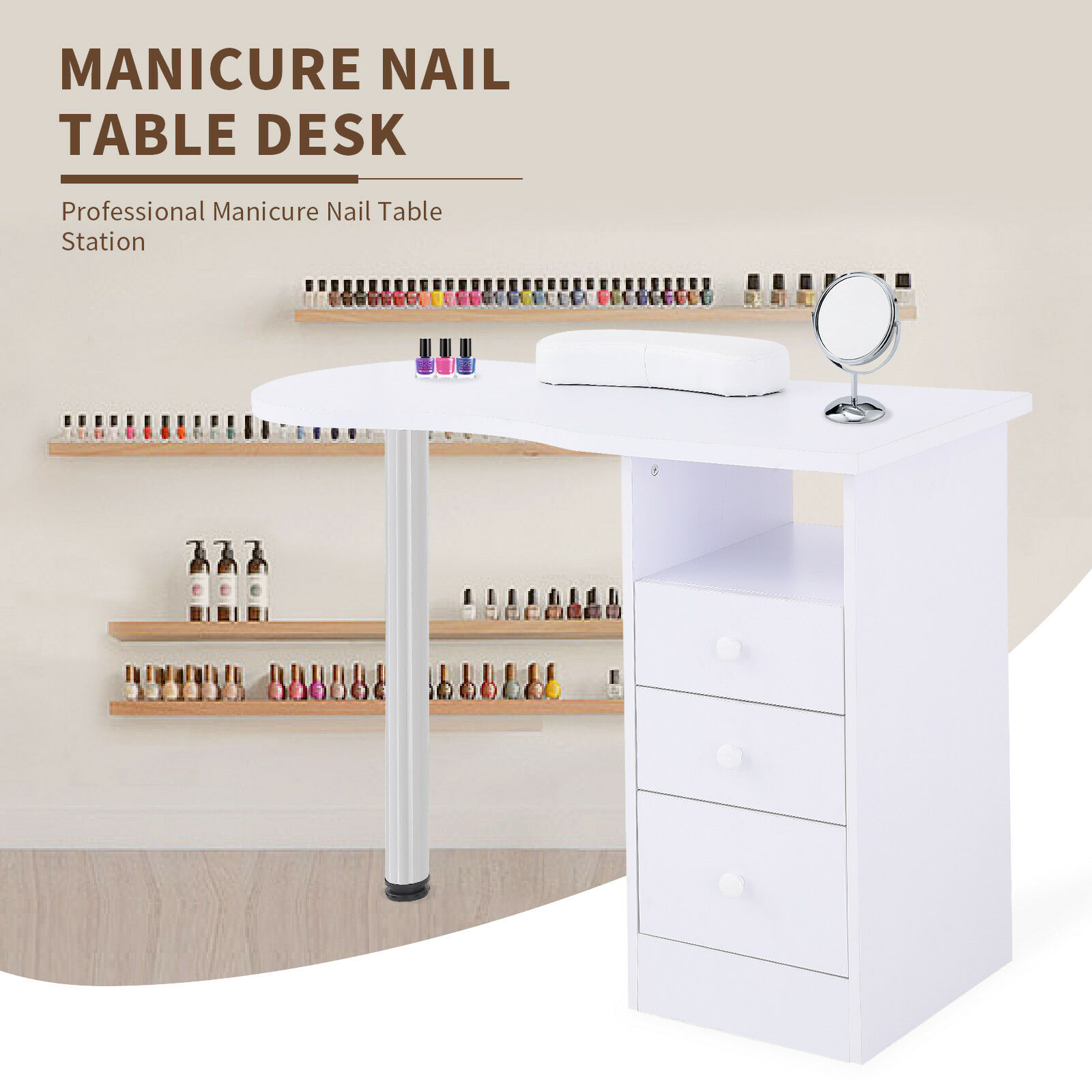 Manicure Nail Table Desk Spa Beauty Care Station Drawer Equipment W ...