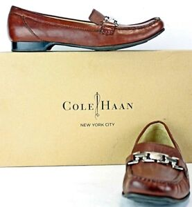 Cole-Haan-Womens-Loafer-sz-9-5-B-Brown-Leather-Silver-Chain-Flats-Shoes-MO27