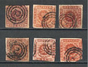 Briefmarken-Daenemark-1851-1858-gestempelt