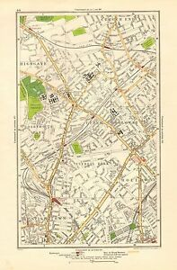 1923 London Street Map Crouch End Holloway Kentish