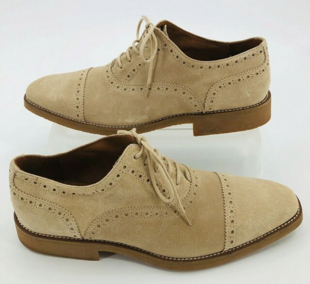 Mike Konos Mens Tan Suede Brogue Oxford Wingtip Dress Shoes US 9.5 Made in Italy