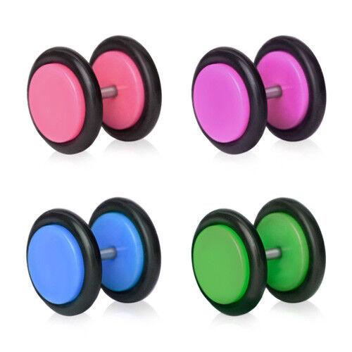 2 Stück Fake Plug Pop Art Piercing Ohrring Mode Schmuck 8mm lila grün ManoaShark