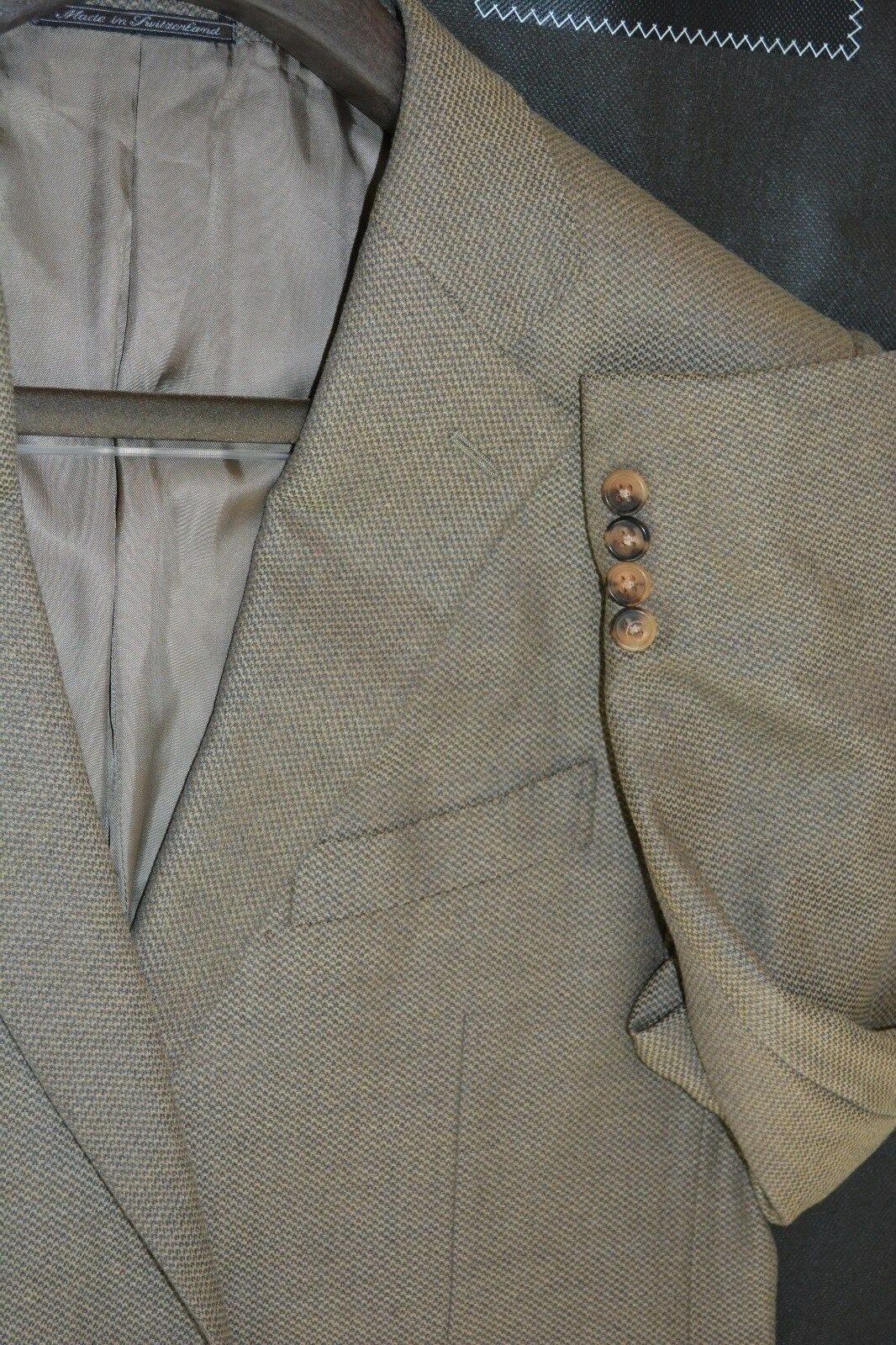 2195 Ermenegildo Zegna Super 170s 15milmil15 Wool Grün Beige Blazer 44L 44 L
