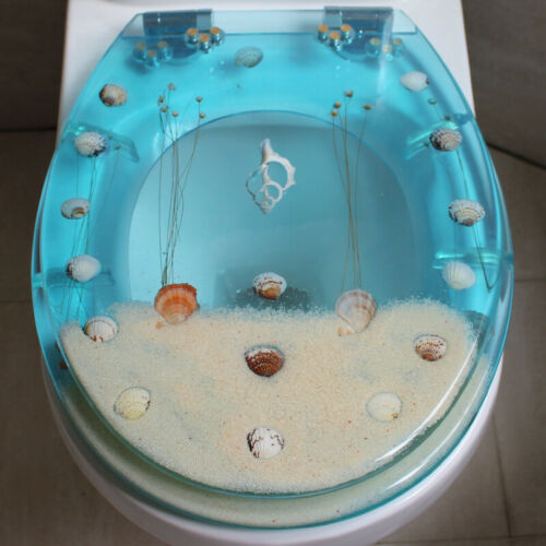 D30 Sea Snail Resin O V U Shape Bathroom Toilet Seat Lid Closed Front Lift Off