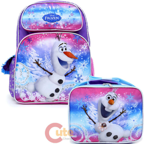 Disney Frozen Olaf 16 Large School Backpack Lunch Bag 2pc Set