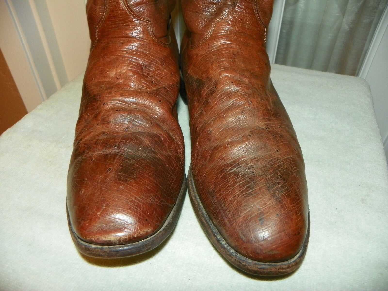 JUSTIN Hombre Cuero exótico Suave Avestruz Quill & botas De Vaquero D Usa