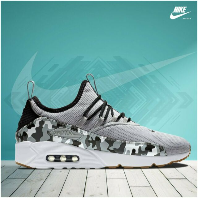 New Nike Air Max 90 EZ Shoes Athletic Sneakers Camo Casual Sz 9 Grey White Black