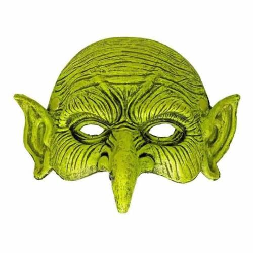 Halloween Green Goblin Sprite Orc Larp Half Face Foam Mask Sorcerer Fancy Dress