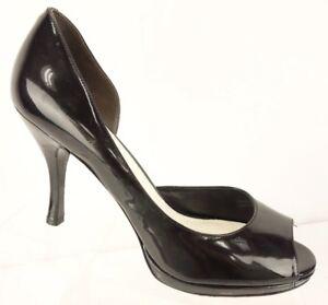 VIA-SPIGA-Black-Patent-Leather-Peep-Toe-Slip-On-Platform-Pump-Heel-Women-039-s-8-5M