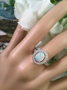 Vintage-Jewellery-Sterling-Silver-Opal-and-Sapphire-Ring-Antique-Jewelry