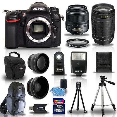 Nikon D7100 Digital SLR Camera + 4 Lens Kit: 18-55mm VR + 70-300 mm +32GB Kit