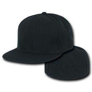9345447ec Black Fitted Flat Bill Plain Solid Blank Baseball Ball Cap Caps Hat ...