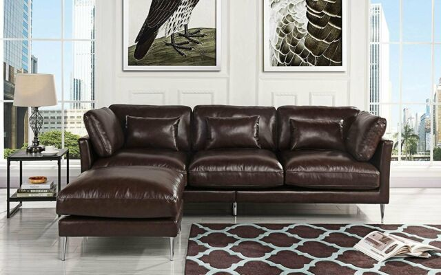 Modern Leather Sectional Sofa, L Shape Living Room Family Room Couch, Dark  Brown