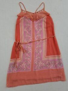 Lauren-Conrad-Women-039-s-Spaghetti-Strap-Shift-Dress-Size-4-Floral-Pink-Coral-TA