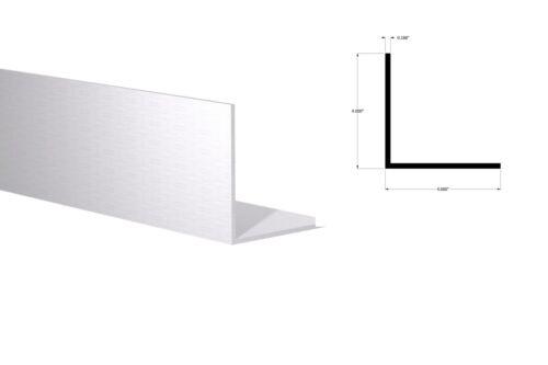 """Mill Finish Aluminum Angle 4 Foot Length 4/"""" x 4/"""" x 3//16/"""" Wall"""