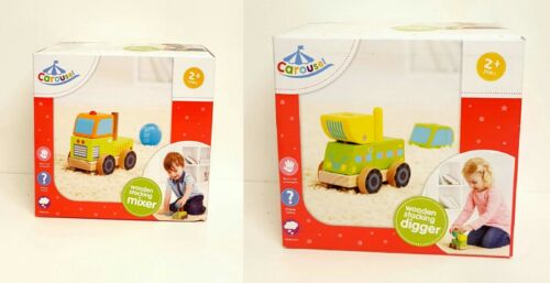 Carousel Wooden Stacking Digger /& Mixer  Truck Pretend Play Age 2 * New *
