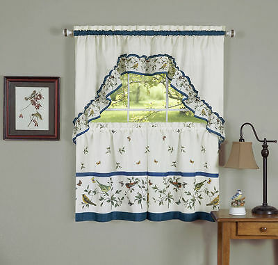 love birds- TIER & SWAG SET- Complete Kitchen Curtain, birds and butterflies