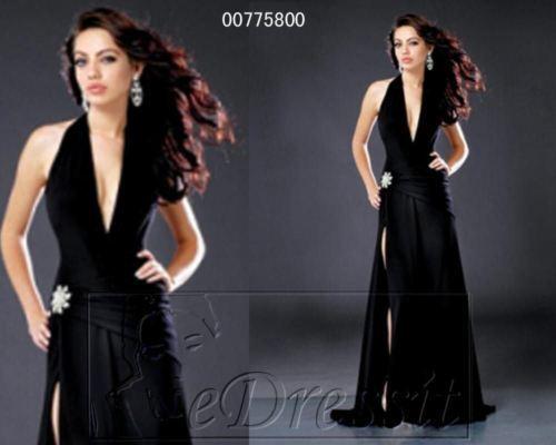 Magnifique Robe de Soirée gala cocktail mariage schwarz fendue et Décolleté t36 38